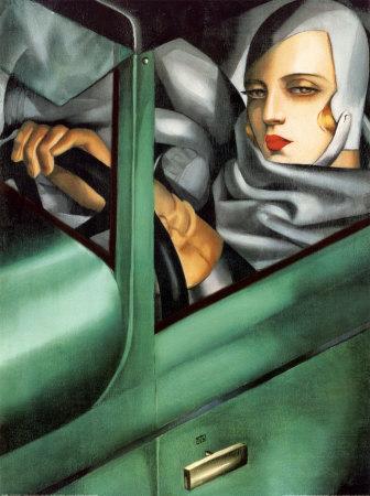 緑色のブガッティに乗るタマラ